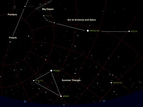 Vega is the guidepost star for June, heralding the rising of the Summer Triangle which stays with us right until winter! Look for it in the eastern sky about 45 minutes after sunset. (Click for much larger image.)