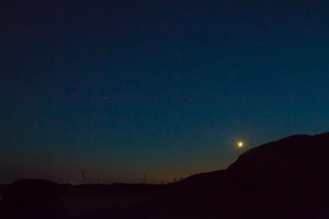 September 27,2014 - c. 45 minutes after sunset looking west on beach in front of Allens Pond. Dartmouth, MA.  Waxing Moon with Saturn just south - plus Mars and Antares. (Click image for larger version.)